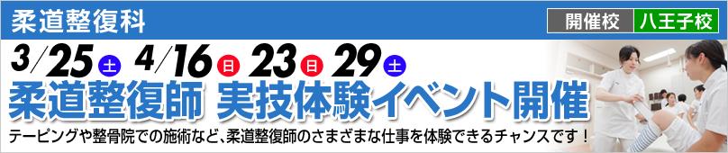 柔道整復科 3/25(土) 4/16(日)23(日)29(土) 柔道整復師 実技体験イベント開催